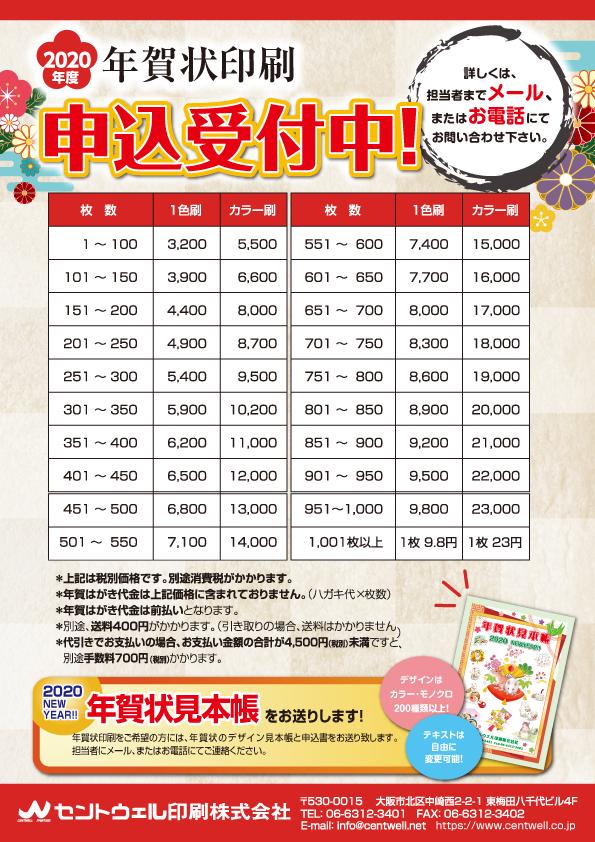 年賀状 印刷 価格表