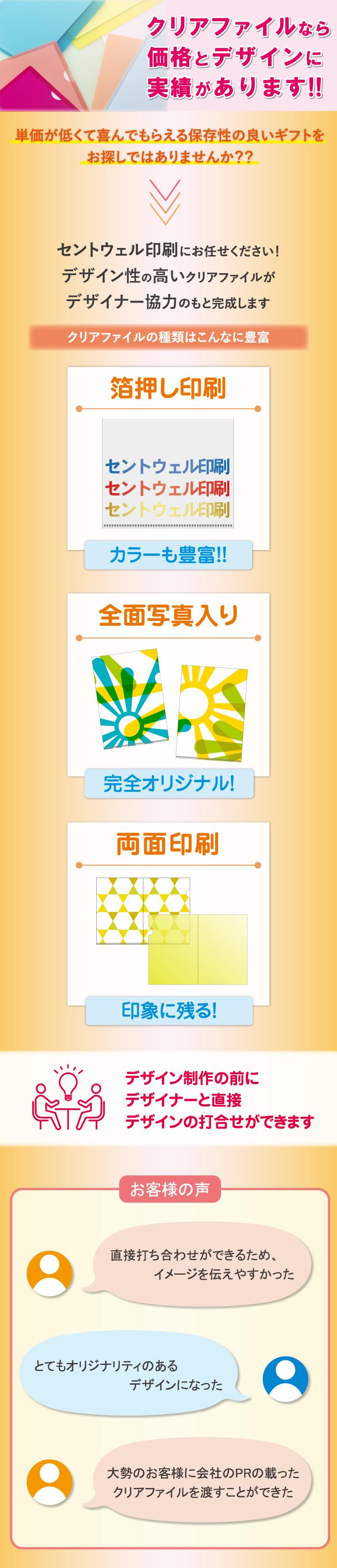 クリアファイルの印刷なら大阪 北区 梅田のセントウェル印刷株式会社