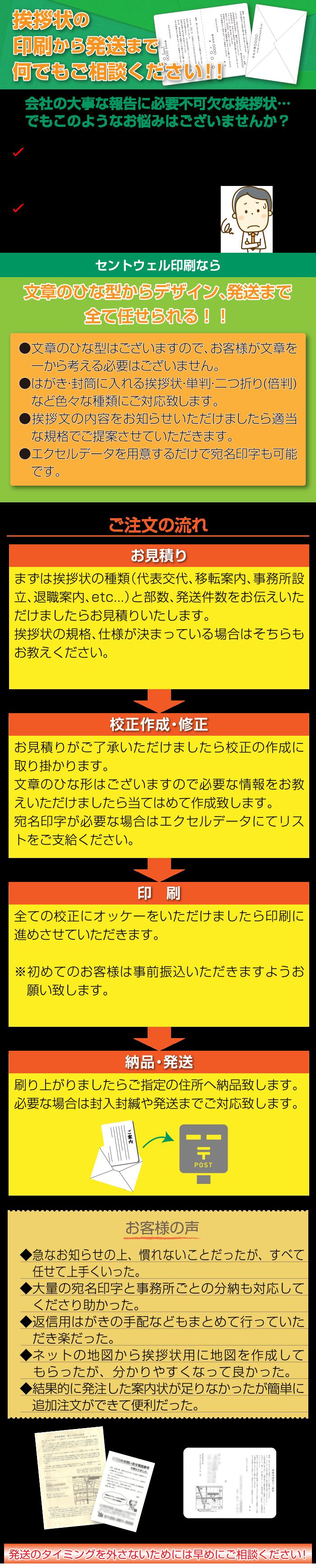 挨拶状の印刷なら大阪 北区 梅田のセントウェル印刷株式会社